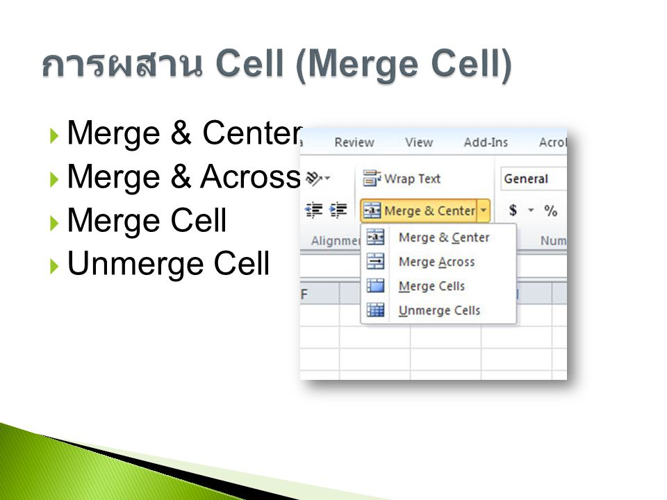 การผสาน Cell (Merge Cell)