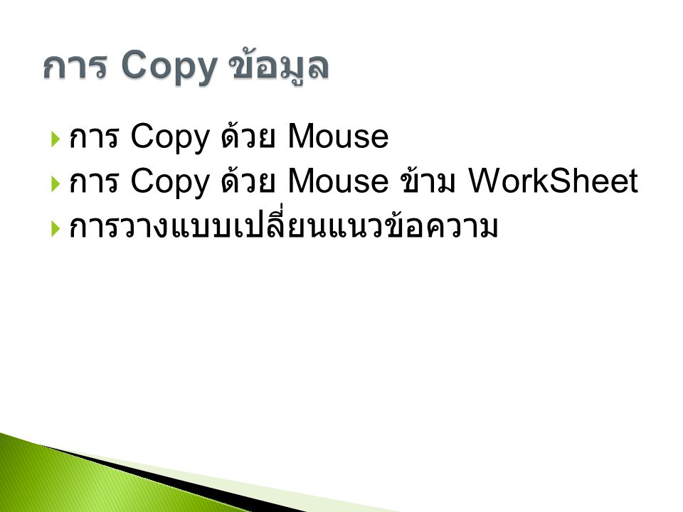 การ Copy ข้อมูล การ Copy ด้วย Mouse การ Copy ด้วย Mouse ข้าม WorkSheet