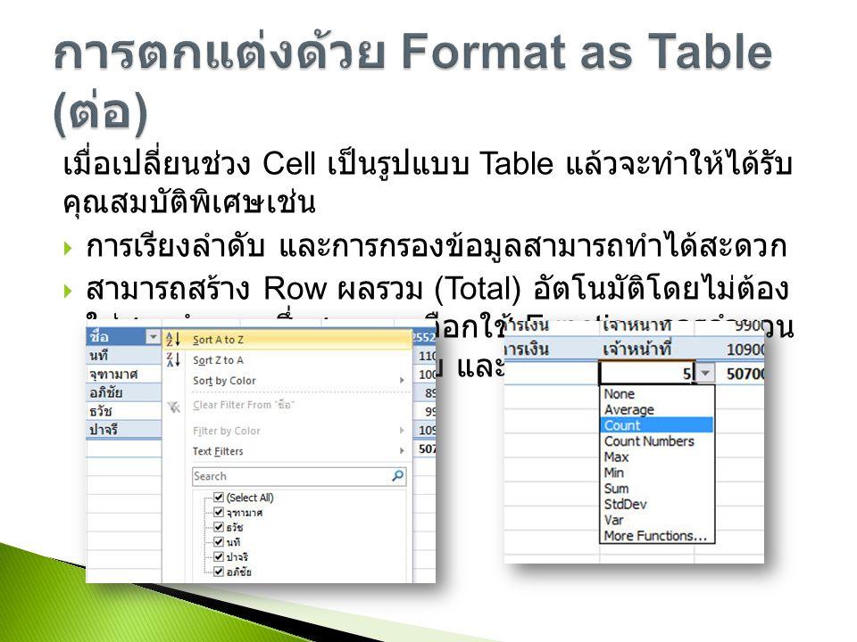 การตกแต่งด้วย Format as Table (ต่อ)