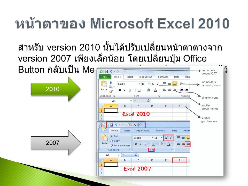 หน้าตาของ Microsoft Excel 2010