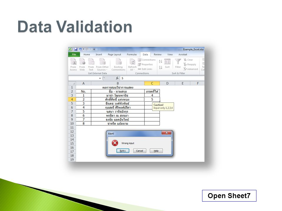 Data Validation Open Sheet7