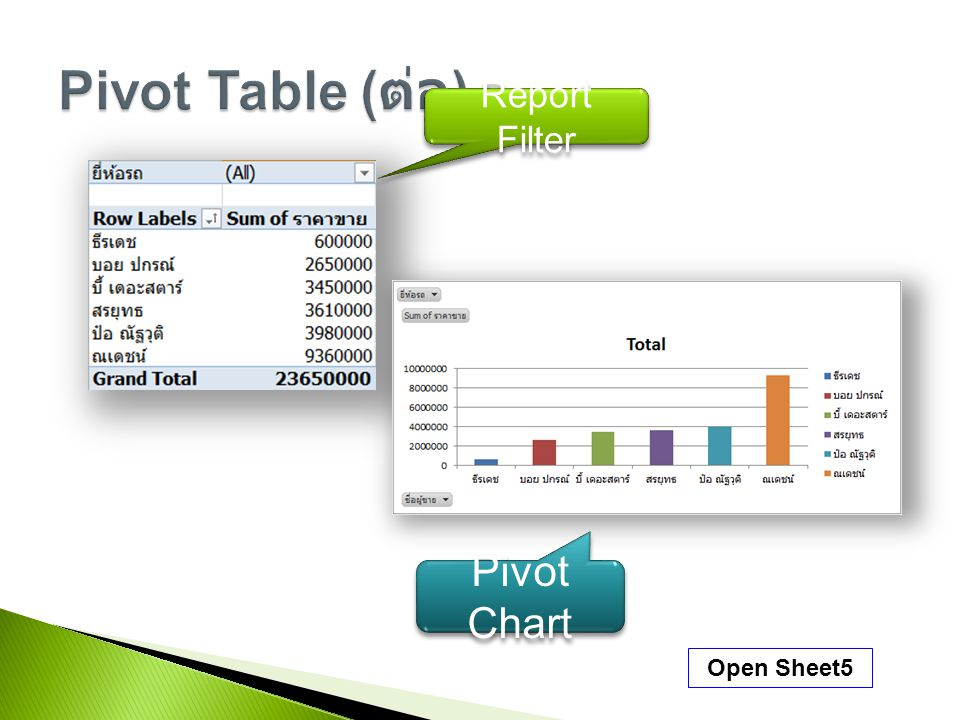Pivot Table (ต่อ) Report Filter Pivot Chart Open Sheet5