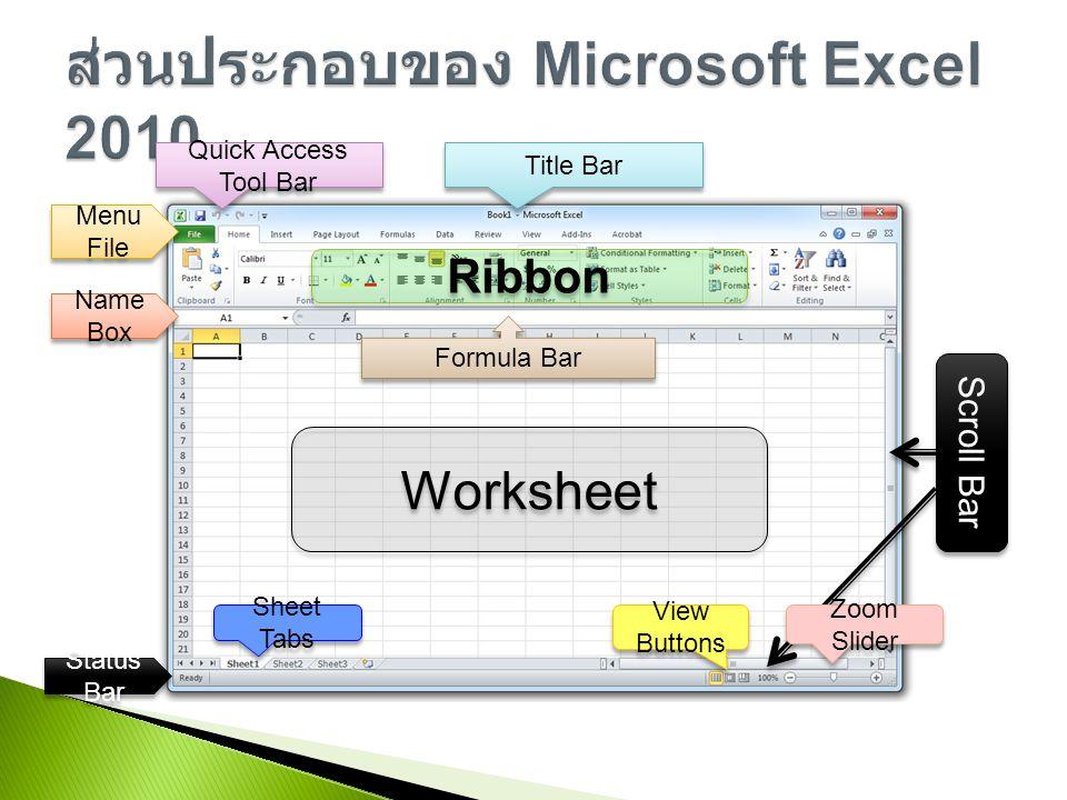 ส่วนประกอบของ Microsoft Excel 2010