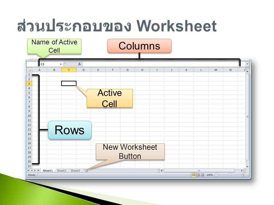 ส่วนประกอบของ Worksheet
