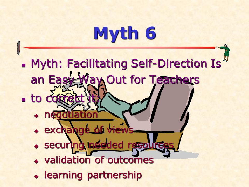 Myth 6 Myth: Facilitating Self-Direction Is an Easy Way Out for Teachers. to correct it: negotiation.