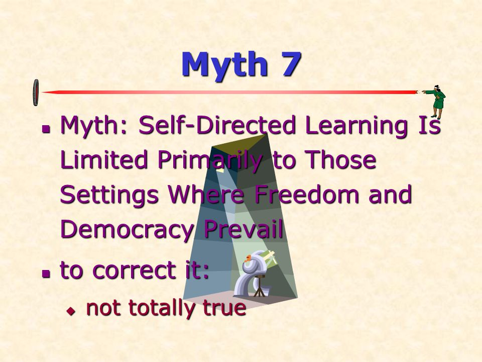 Myth 7 Myth: Self-Directed Learning Is Limited Primarily to Those Settings Where Freedom and Democracy Prevail.