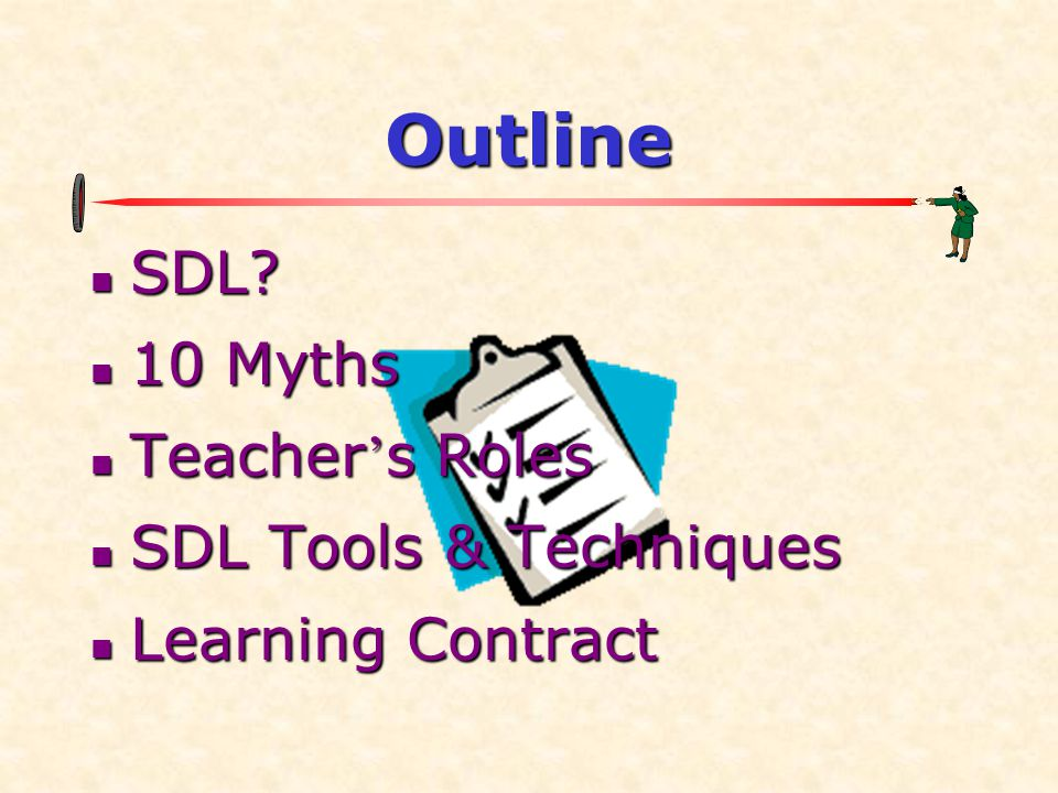 Outline SDL 10 Myths Teacher's Roles SDL Tools & Techniques
