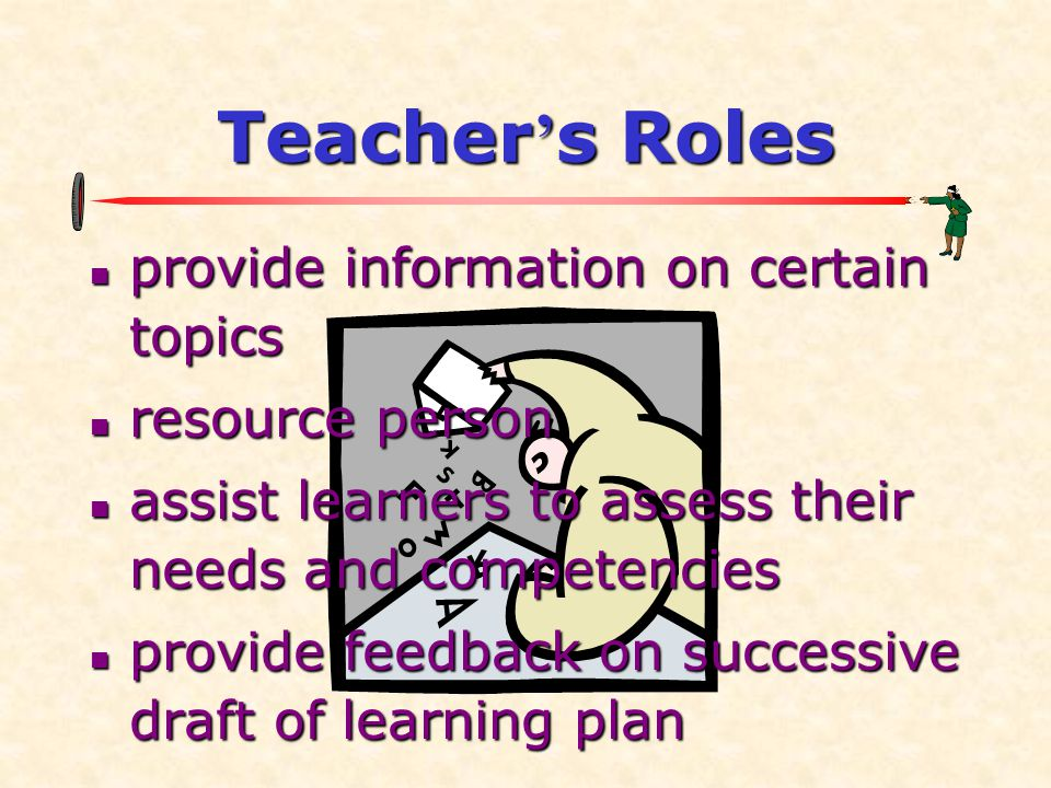Teacher's Roles provide information on certain topics resource person