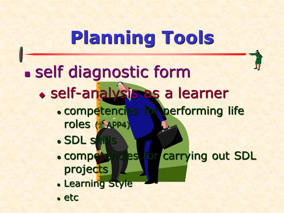 Planning Tools self diagnostic form self-analysis as a learner