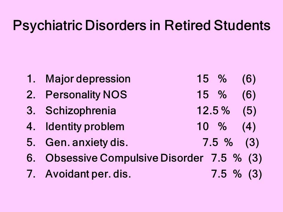 Psychiatric Disorders in Retired Students