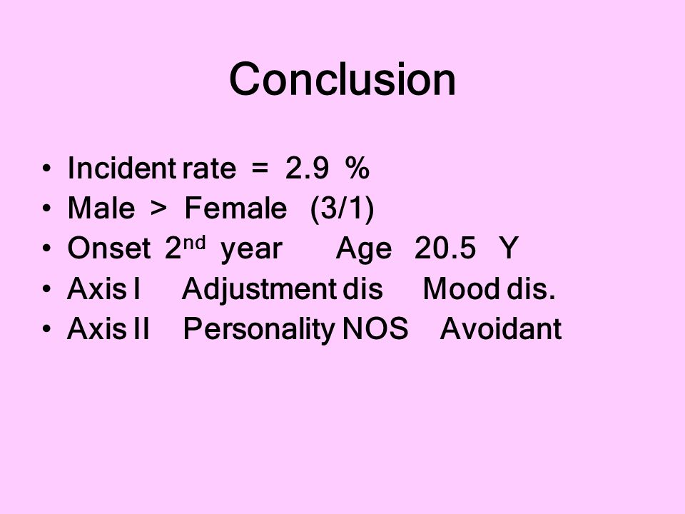 Conclusion Incident rate = 2.9 % Male > Female (3/1)