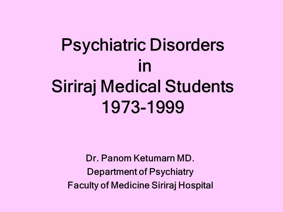 Psychiatric Disorders in Siriraj Medical Students 1973-1999