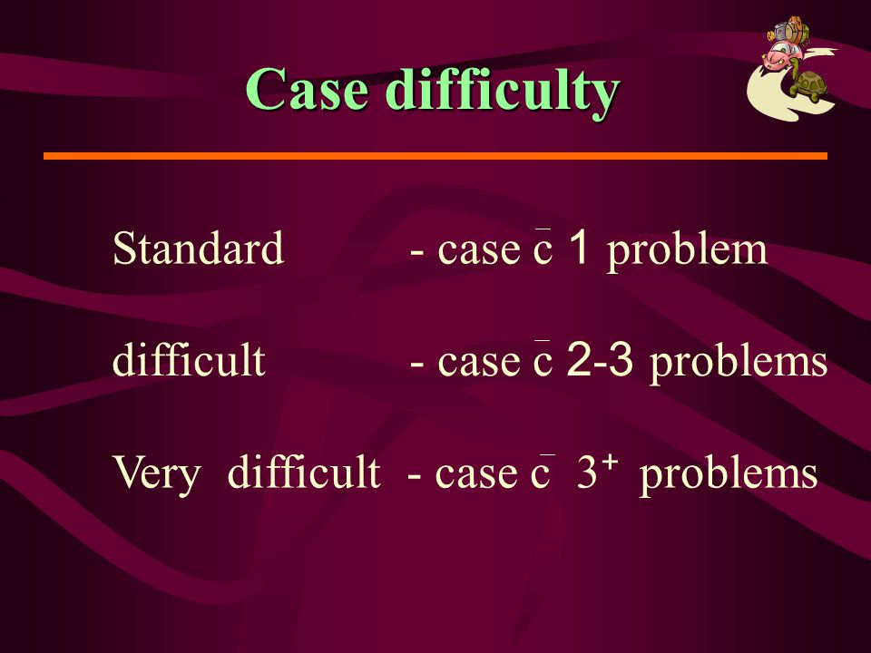 Case difficulty Standard - case c 1 problem