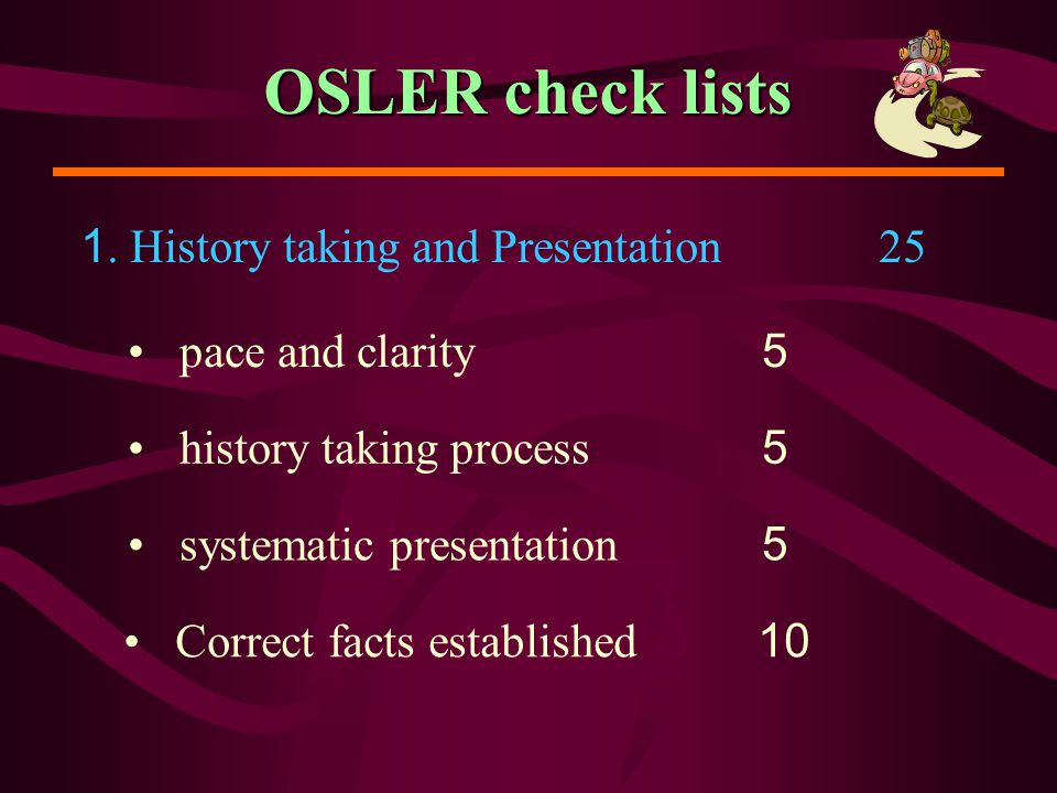 OSLER check lists 1. History taking and Presentation 25