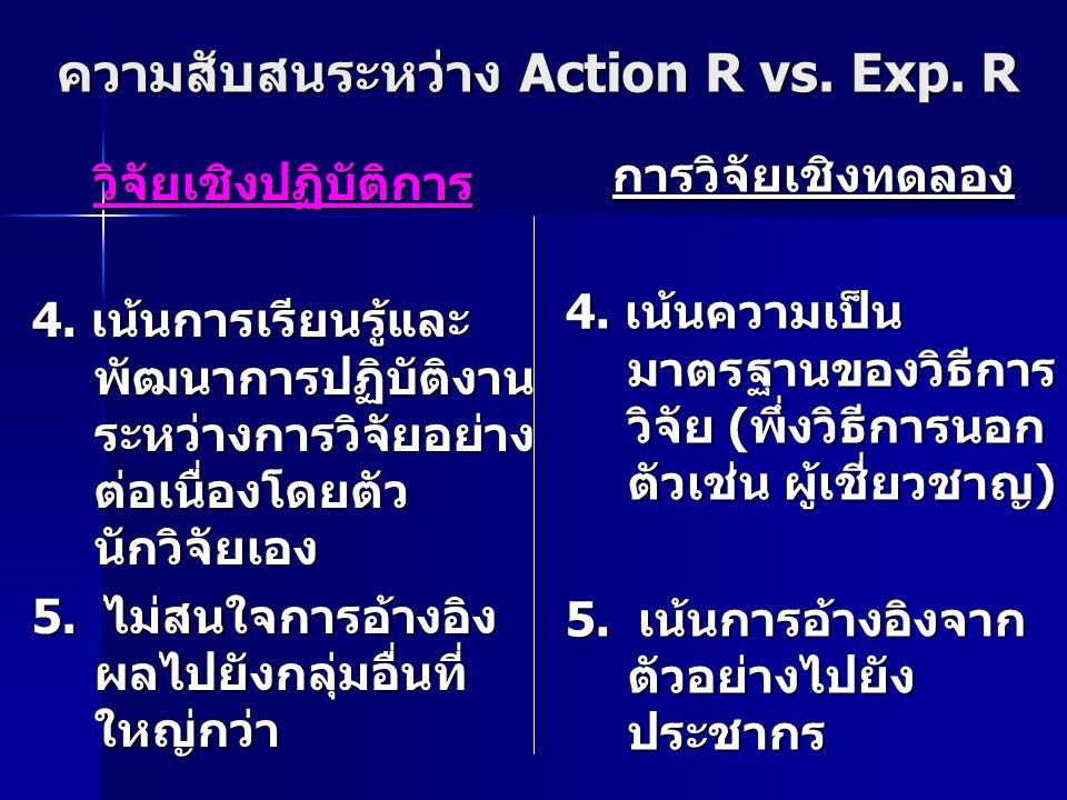 ความสับสนระหว่าง Action R vs. Exp. R
