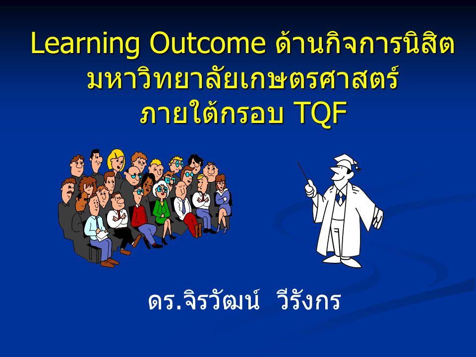 Learning Outcome ด้านกิจการนิสิต มหาวิทยาลัยเกษตรศาสตร์ ภายใต้กรอบ TQF