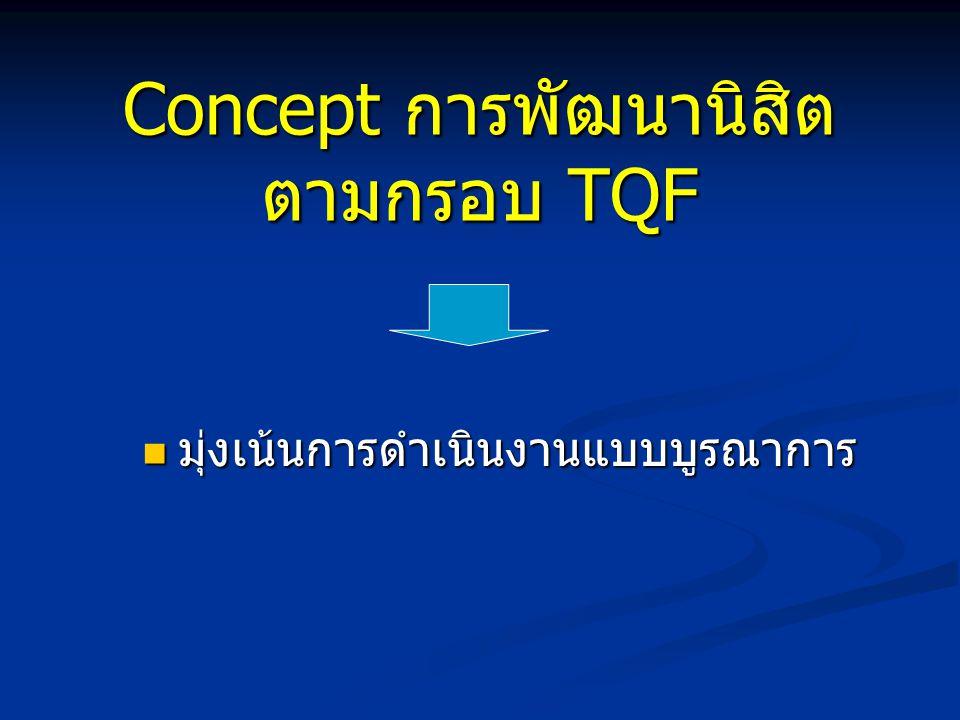 Concept การพัฒนานิสิต ตามกรอบ TQF