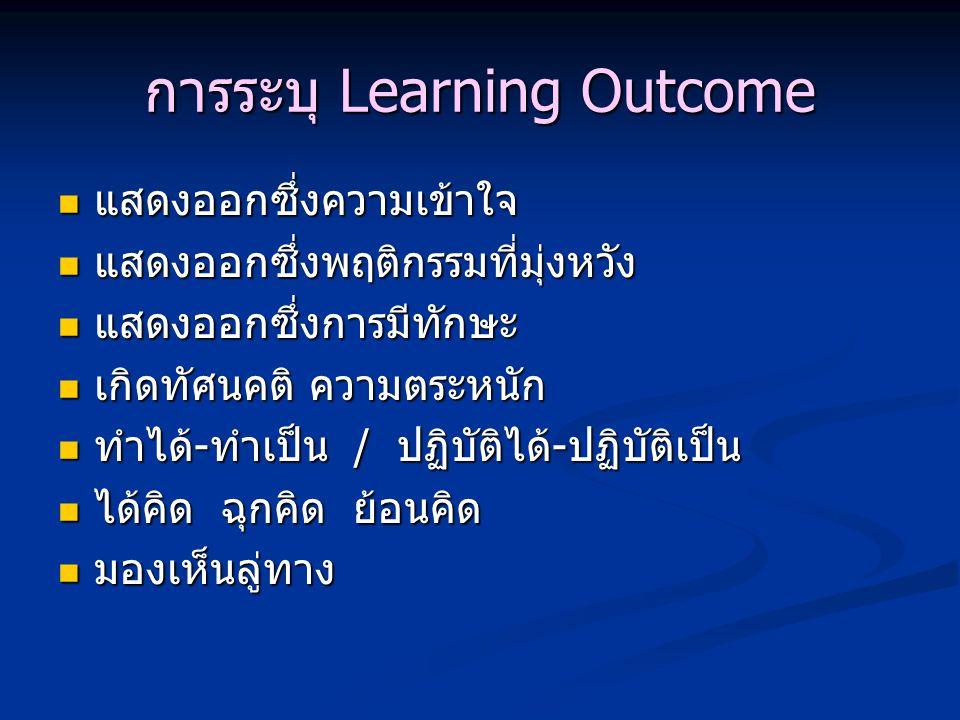 การระบุ Learning Outcome