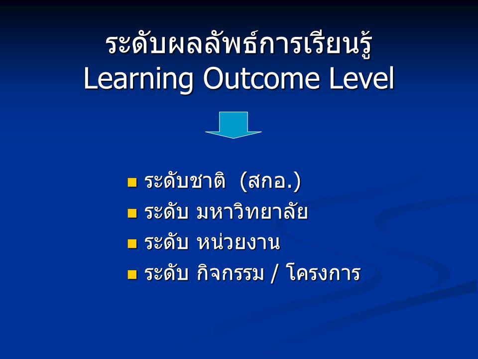 ระดับผลลัพธ์การเรียนรู้ Learning Outcome Level