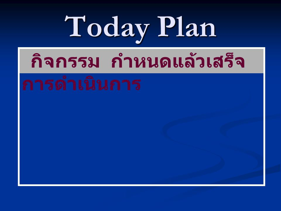 Today Plan กิจกรรม กำหนดแล้วเสร็จ การดำเนินการ