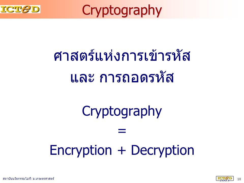 ศาสตร์แห่งการเข้ารหัส และ การถอดรหัส