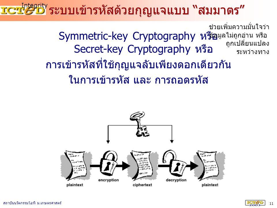 ระบบเข้ารหัสด้วยกุญแจแบบ สมมาตร