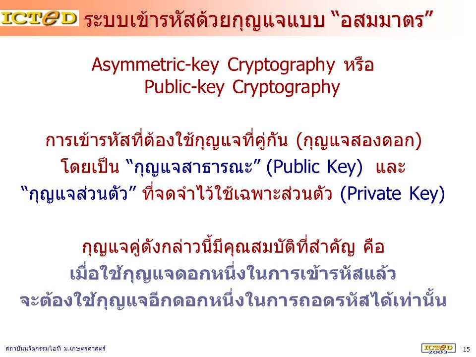 ระบบเข้ารหัสด้วยกุญแจแบบ อสมมาตร