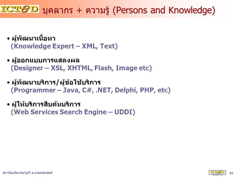 บุคลากร + ความรู้ (Persons and Knowledge)