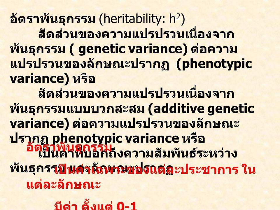 อัตราพันธุกรรม (heritability: h2)