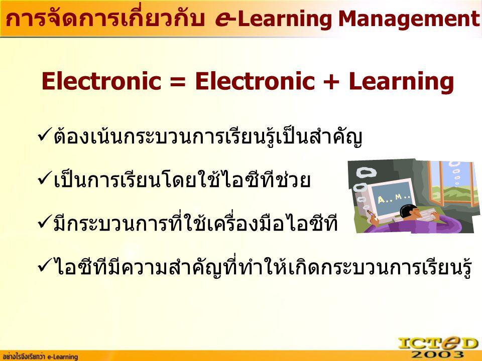 การจัดการเกี่ยวกับ e-Learning Management