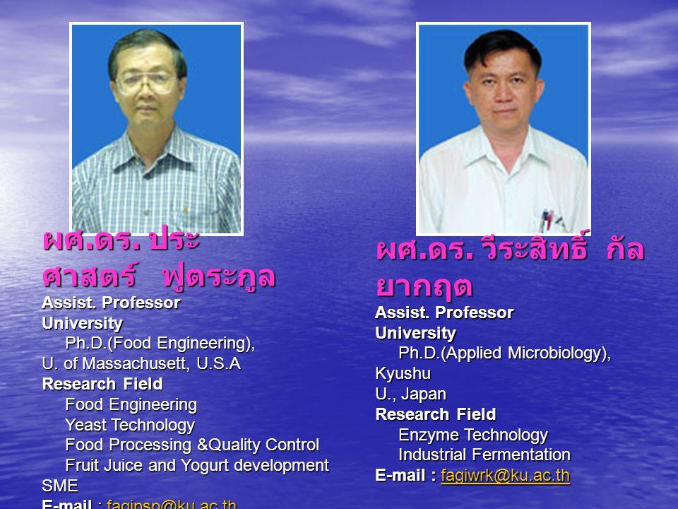 ผศ. ดร. ประศาสตร์ ฟูตระกูล Assist. Professor University Ph. D