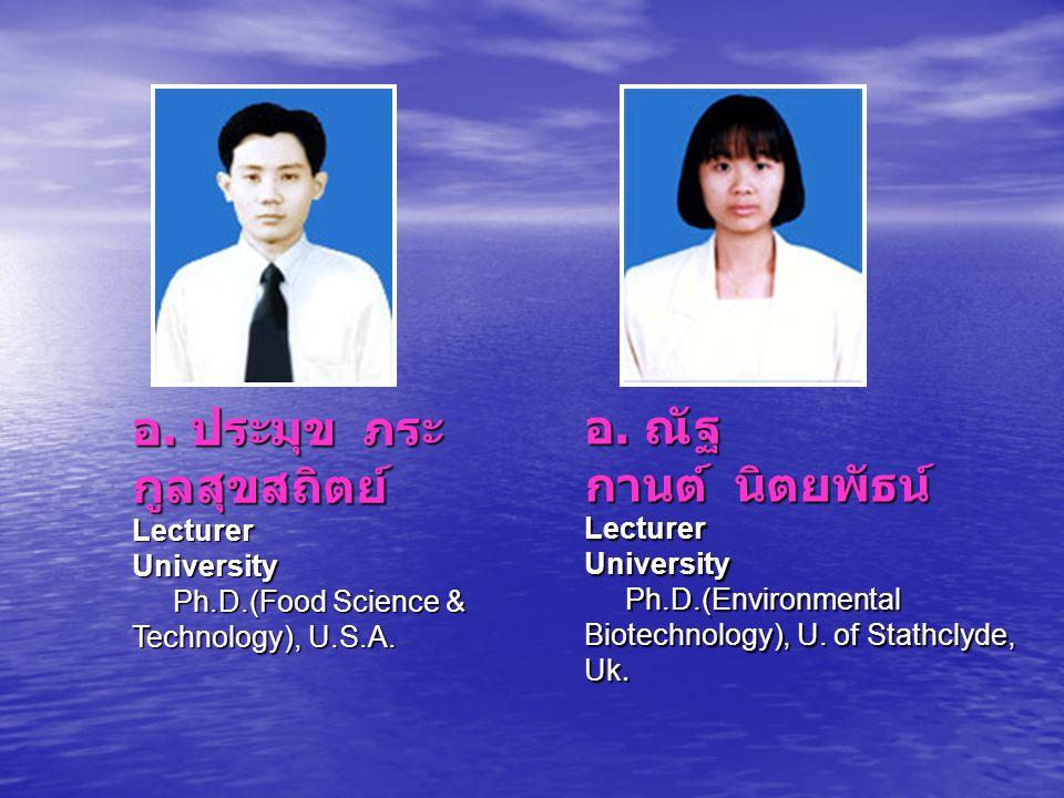 อ. ประมุข ภระกูลสุขสถิตย์ Lecturer University Ph. D
