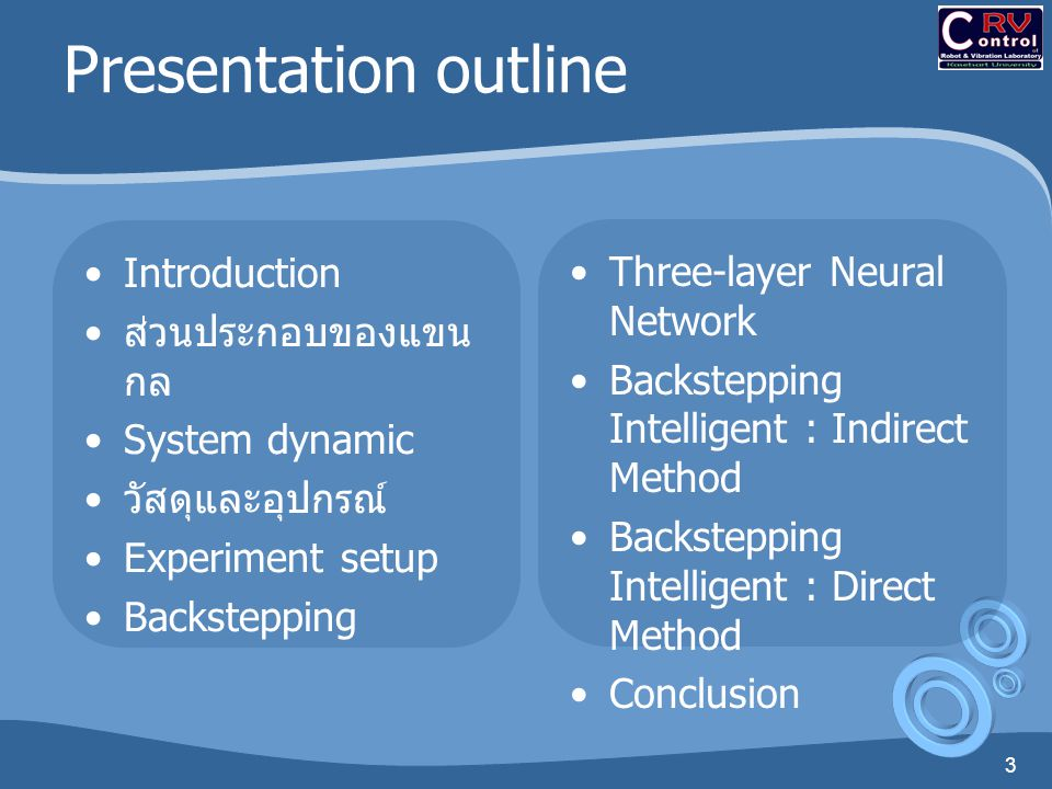 Presentation outline Introduction Three-layer Neural Network