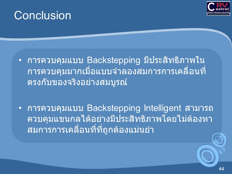 Conclusion การควบคุมแบบ Backstepping มีประสิทธิภาพในการควบคุมมากเมื่อแบบจำลองสมการการเคลื่อนที่ตรงกับของจริงอย่างสมบูรณ์