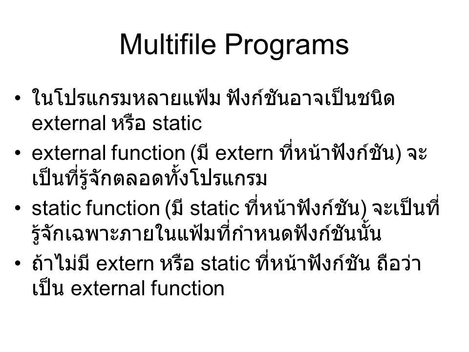 Multifile Programs ในโปรแกรมหลายแฟ้ม ฟังก์ชันอาจเป็นชนิด external หรือ static.