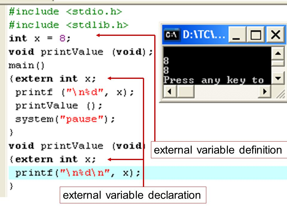 external variable definition