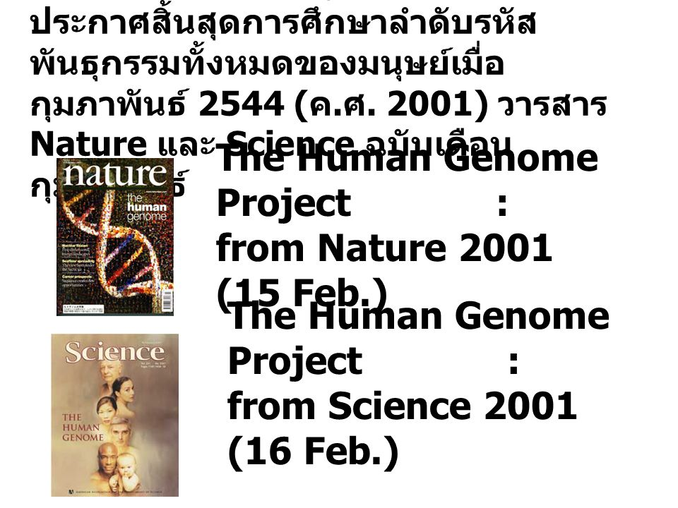 The Human Genome Project : from Nature 2001 (15 Feb.)