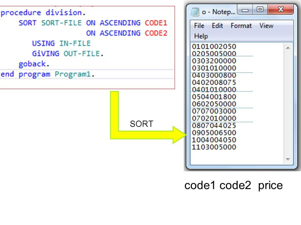 SORT SORT code1 code2 price