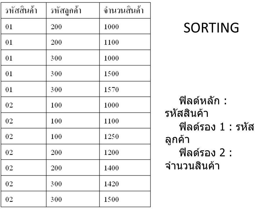 SORTING ฟิลด์หลัก : รหัสสินค้า ฟิลด์รอง 1 : รหัสลูกค้า