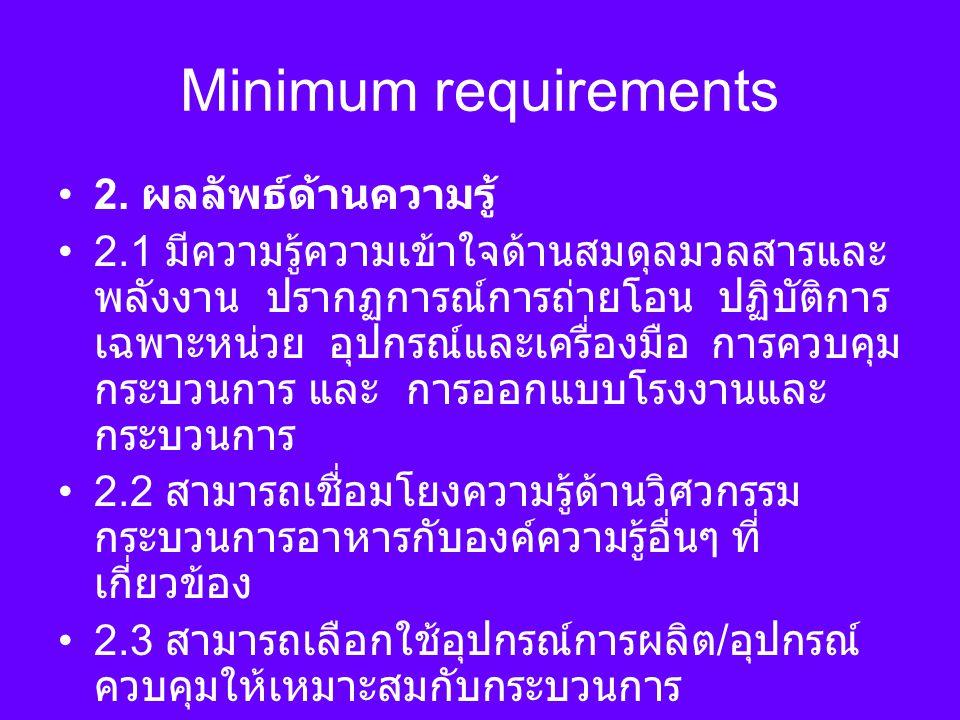 Minimum requirements 2. ผลลัพธ์ด้านความรู้