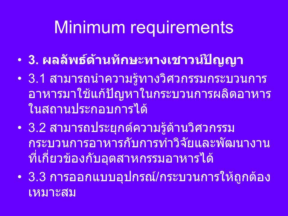 Minimum requirements 3. ผลลัพธ์ด้านทักษะทางเชาวน์ปัญญา