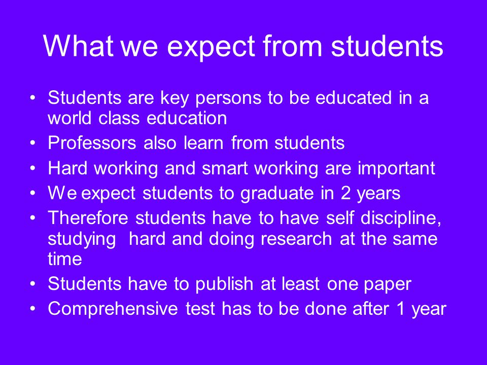 What we expect from students