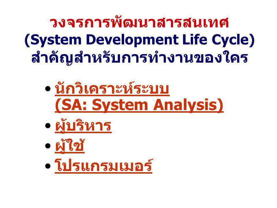 วงจรการพัฒนาสารสนเทศ (System Development Life Cycle) สำคัญสำหรับการทำงานของใคร