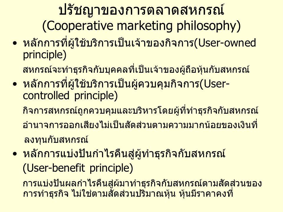 ปรัชญาของการตลาดสหกรณ์ (Cooperative marketing philosophy)