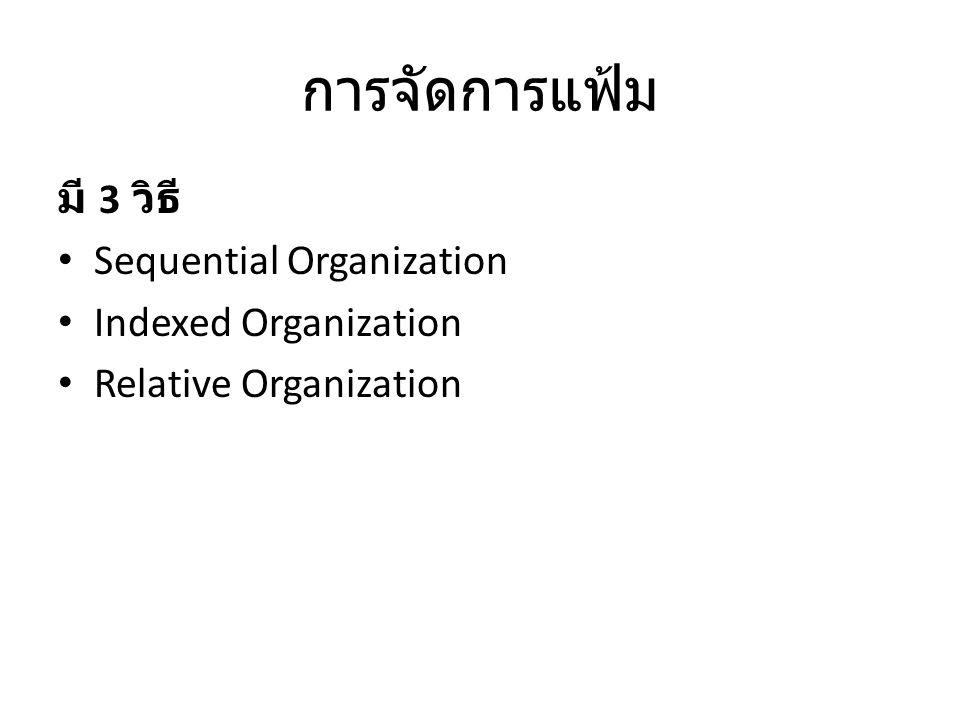 การจัดการแฟ้ม มี 3 วิธี Sequential Organization Indexed Organization