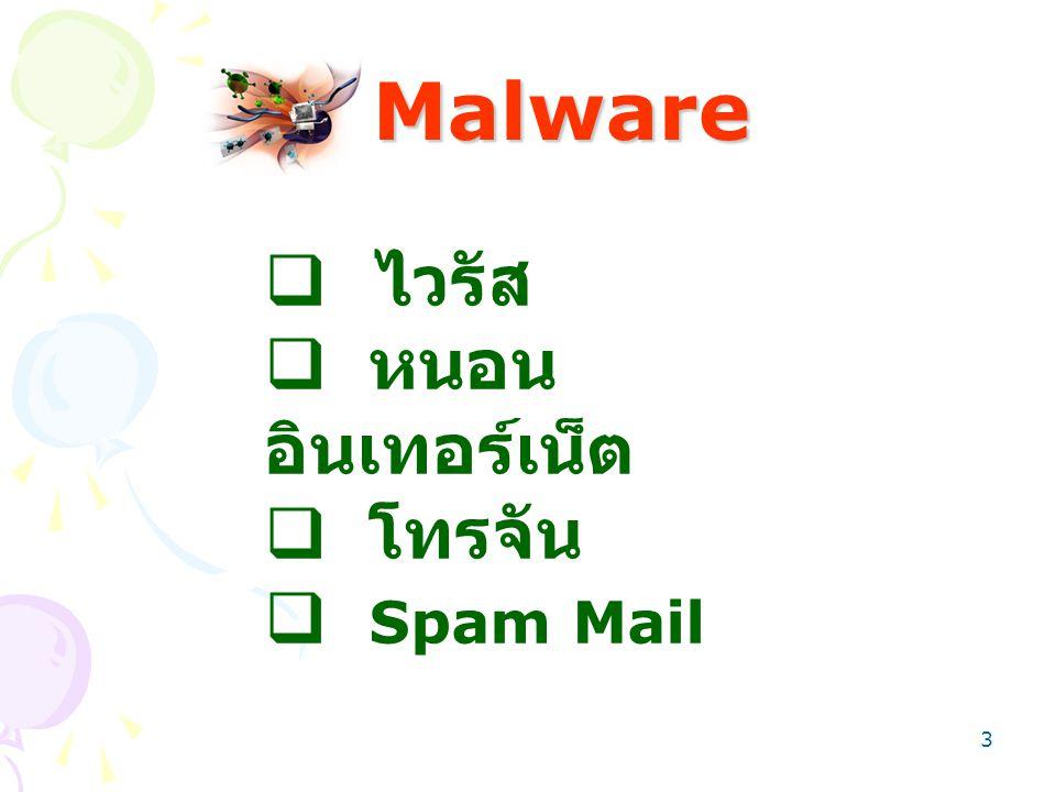 Malware ไวรัส หนอนอินเทอร์เน็ต โทรจัน Spam Mail