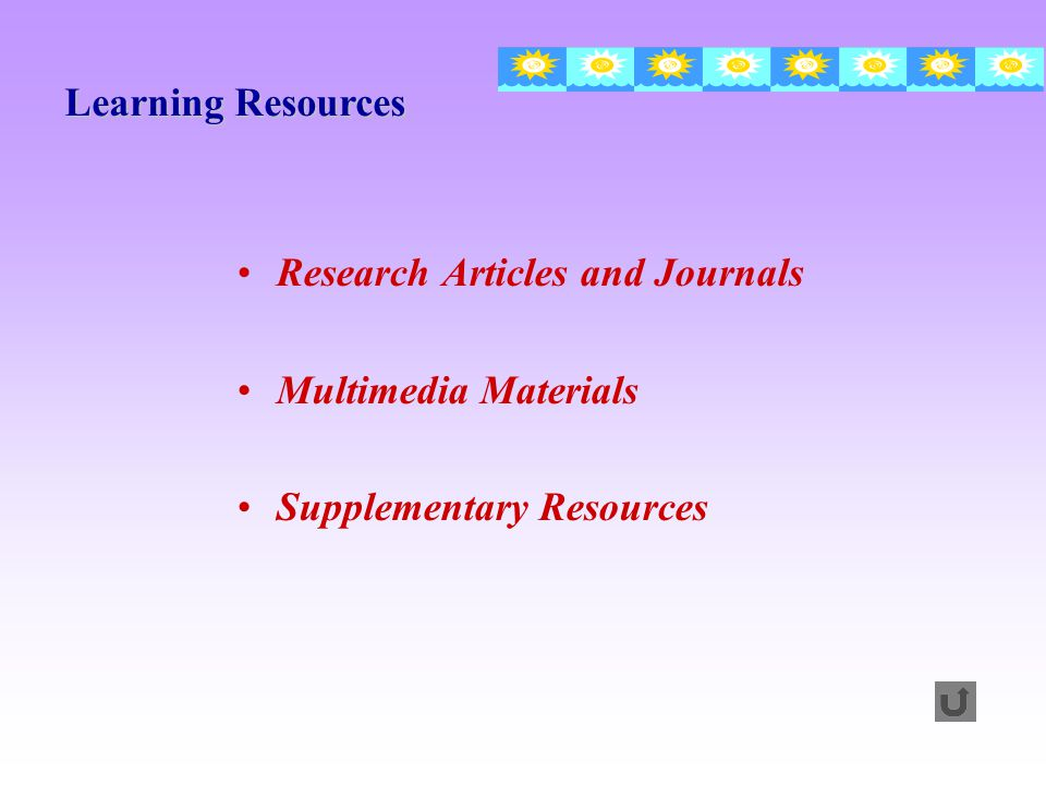 Learning Resources Research Articles and Journals Multimedia Materials Supplementary Resources