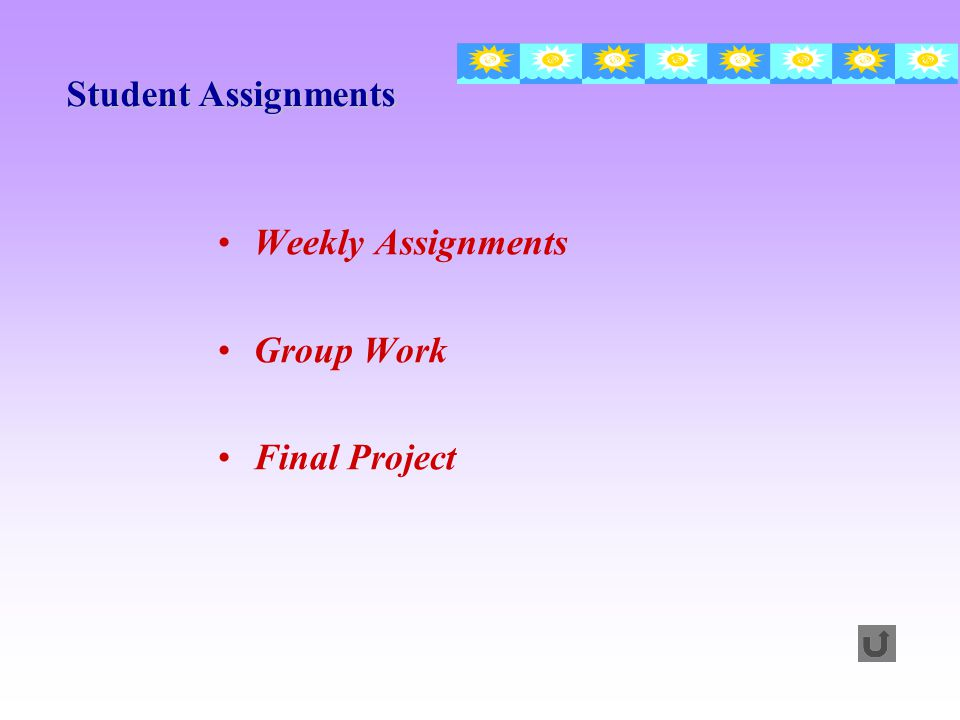 Student Assignments Weekly Assignments Group Work Final Project