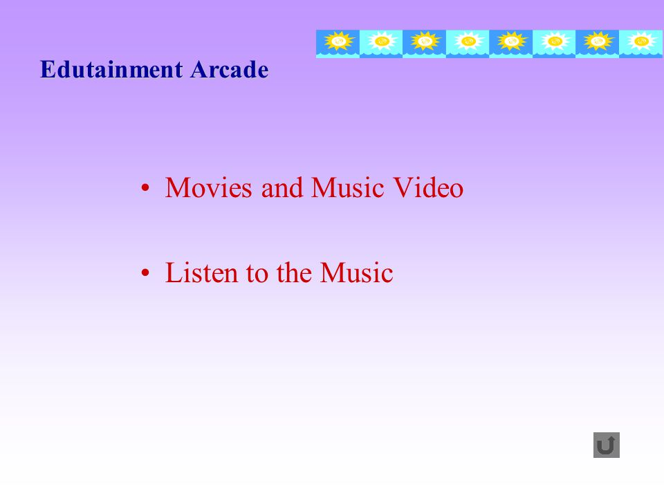 Edutainment Arcade Movies and Music Video Listen to the Music