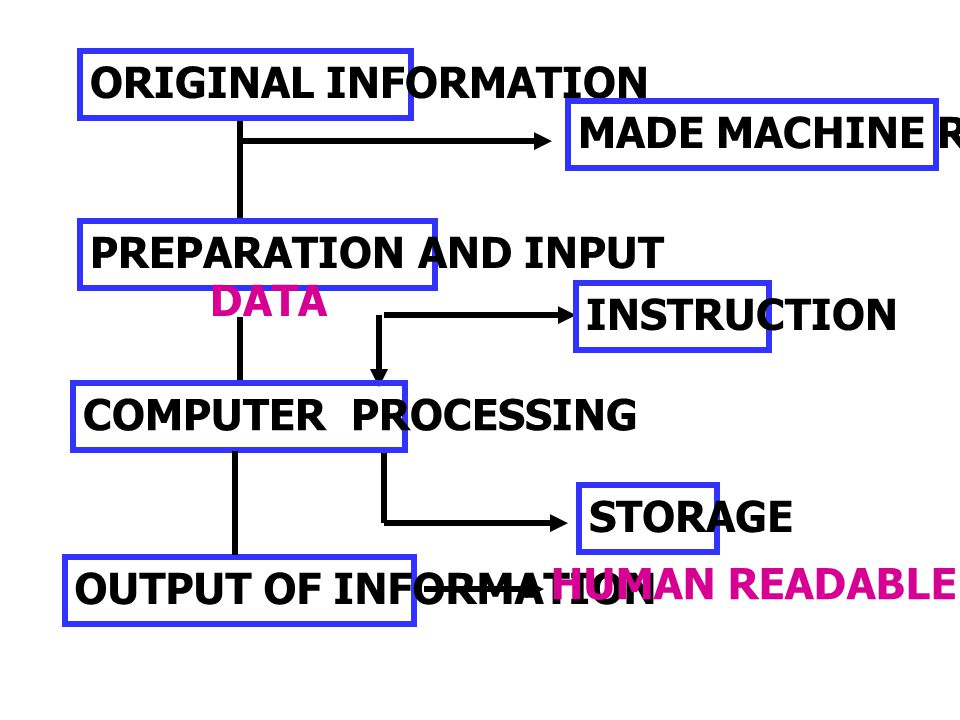 ORIGINAL INFORMATION MADE MACHINE READABLE. PREPARATION AND INPUT. DATA. INSTRUCTION. COMPUTER PROCESSING.
